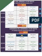 Horarios Del Sáb-dom 13 - 14 Mayo