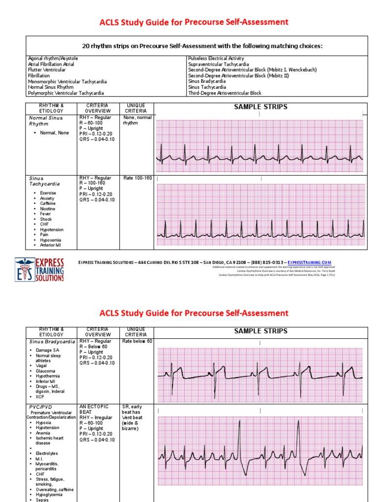 acls pre course self assessment study guide cardiac arrhythmia rh es scribd com