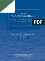 Acta Paleohispánica IX. Actas Del IX Coloquio Sobre Lenguas y Culturas Paleohispánicas (Institución Fernando El Católico)
