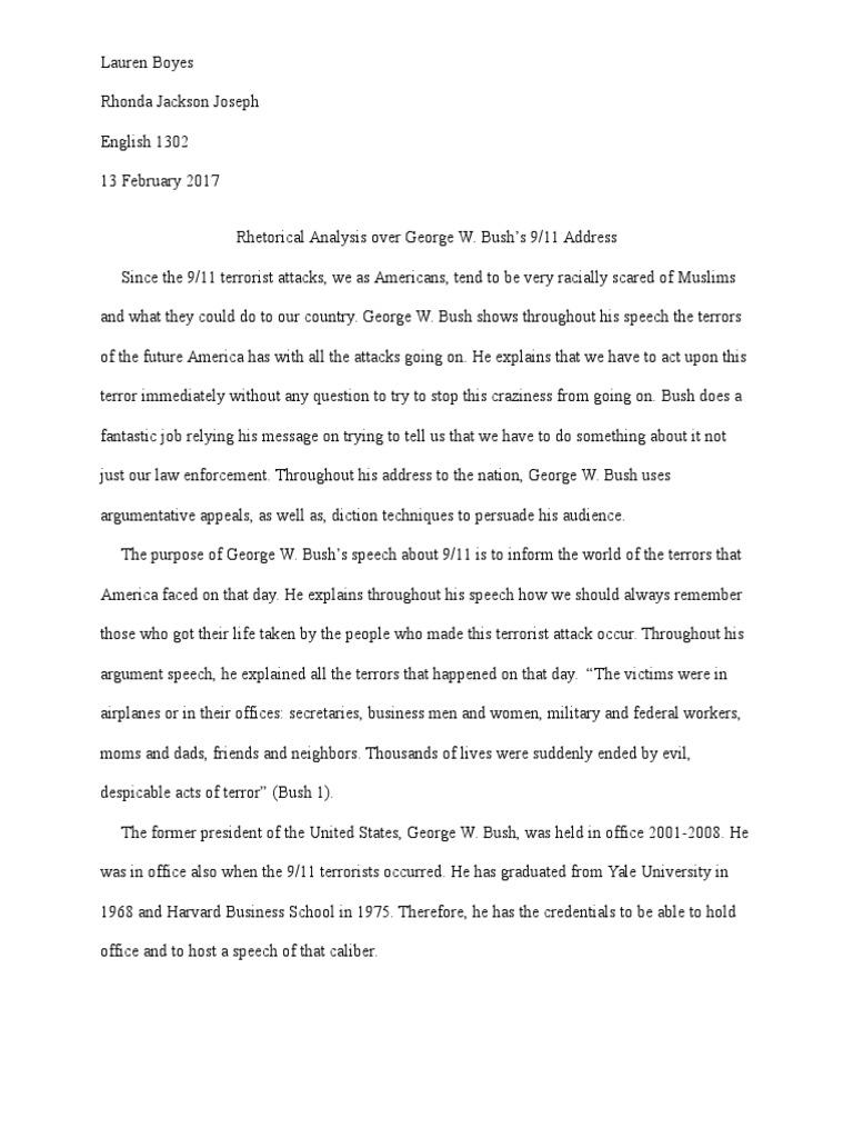 Rhetorical analysis essay september 11 attacks george w bush