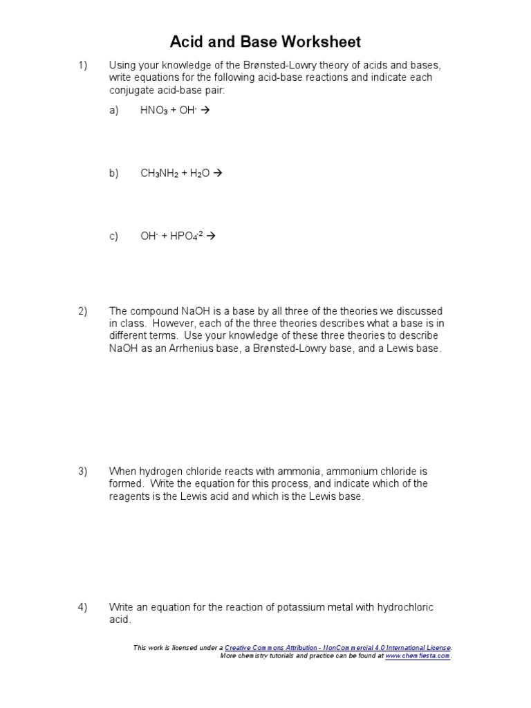 acid-and-base-worksheet | Acid | Molecular Physics