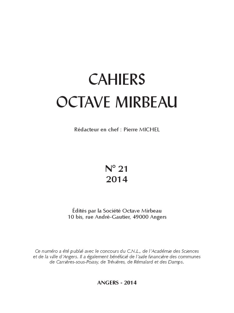 "Comptoir Des Lustres Angers cahiers octave mirbeau"", n° 21 