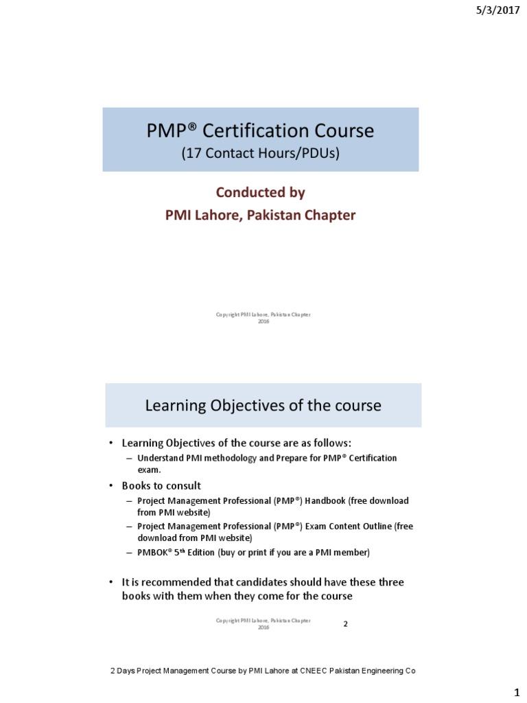 Pmp 2 Days Project Management Risk Management