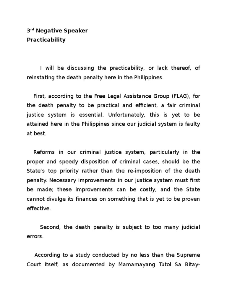 persuasive speech about death penalty in philippines