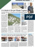 Un chiodo d'oro per Monte Cagnero - Il Resto del Carlino del 7 maggio 2017
