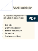 Say Your Rukun Negara in English
