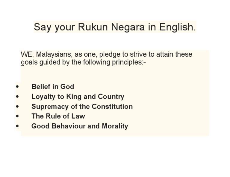 Say Your Rukun Negara In English