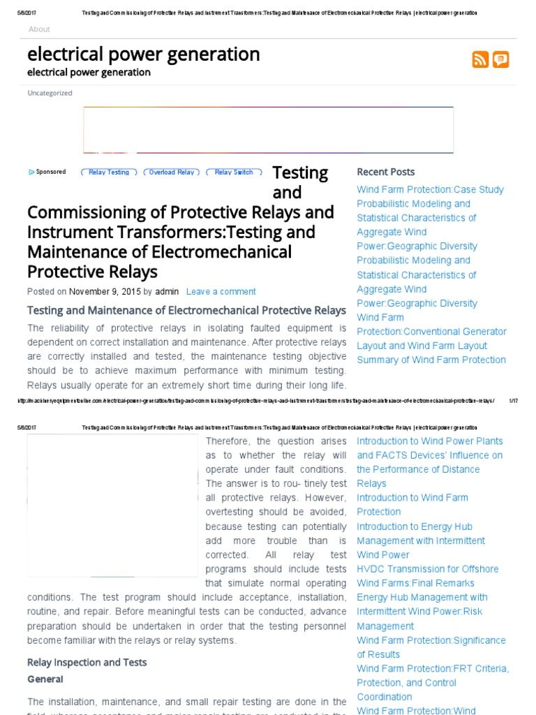 Testing And Commissioning Of Protective Relays And