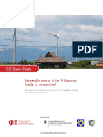 Study on Costs of Renewable Energy in the Philippines