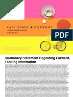 KATE Kate Spade 3 27 14 Lender Presentation