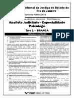 Fgv 2014 Tj Rj Analista Judiciario Especialidade Psicologo Prova