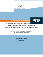 Reeducation Epaule - Recommandations