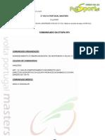 CLASSIFICAÇÃO 3ª ETAPA - 2ª VOLTA PORTUGAL MASTERS