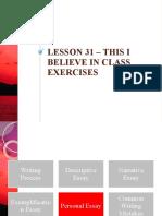 This I Believe Exercises