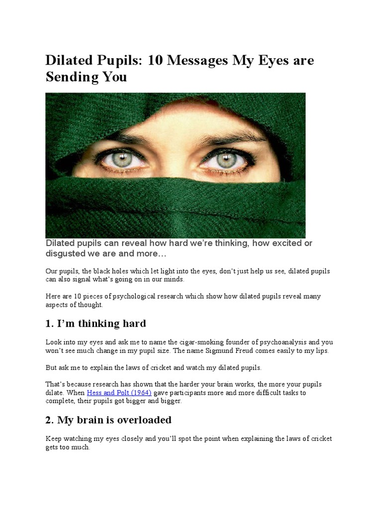 Dilated Pupils 10 Messages My Eyes Are Sending You | Earth