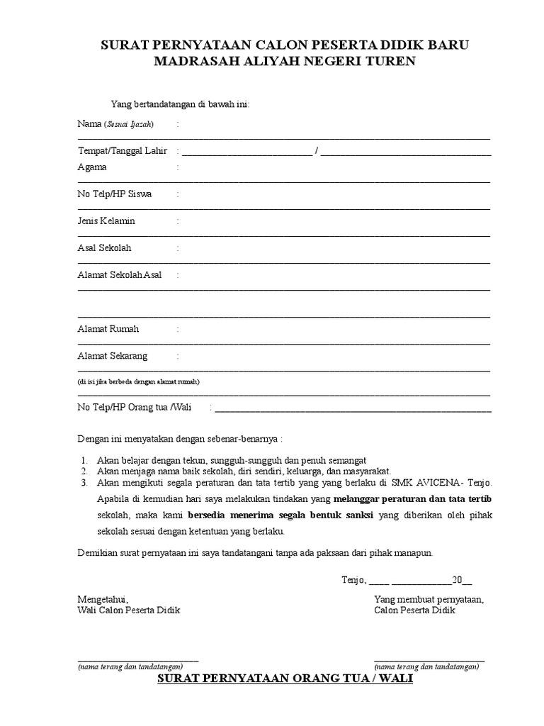 Surat Pernyataan Orangtua Dan Siswa Baru Pdf