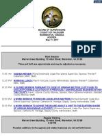 Fauquier Supervisors Agenda 5 11 2017