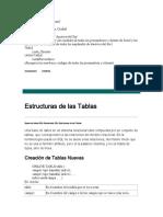 Estructura de Tablas