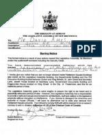 David Amos Legislature Ban New Brunswick