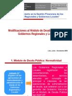 5 Modificaciones Modulo de Deuda Publica de los Gobiernos Regionales y Gobiernos Locales