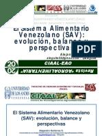 El Sistema Alimentario Venezolano, Evolución, Balance y Perspectivas