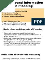 Report on Planning