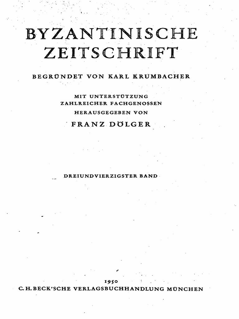 Byzantinische Zeitschrift Jahrgang 43 (1950)