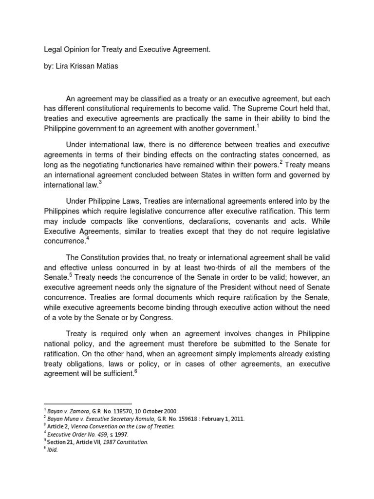Legal Opinion Pil Treaty Ratification