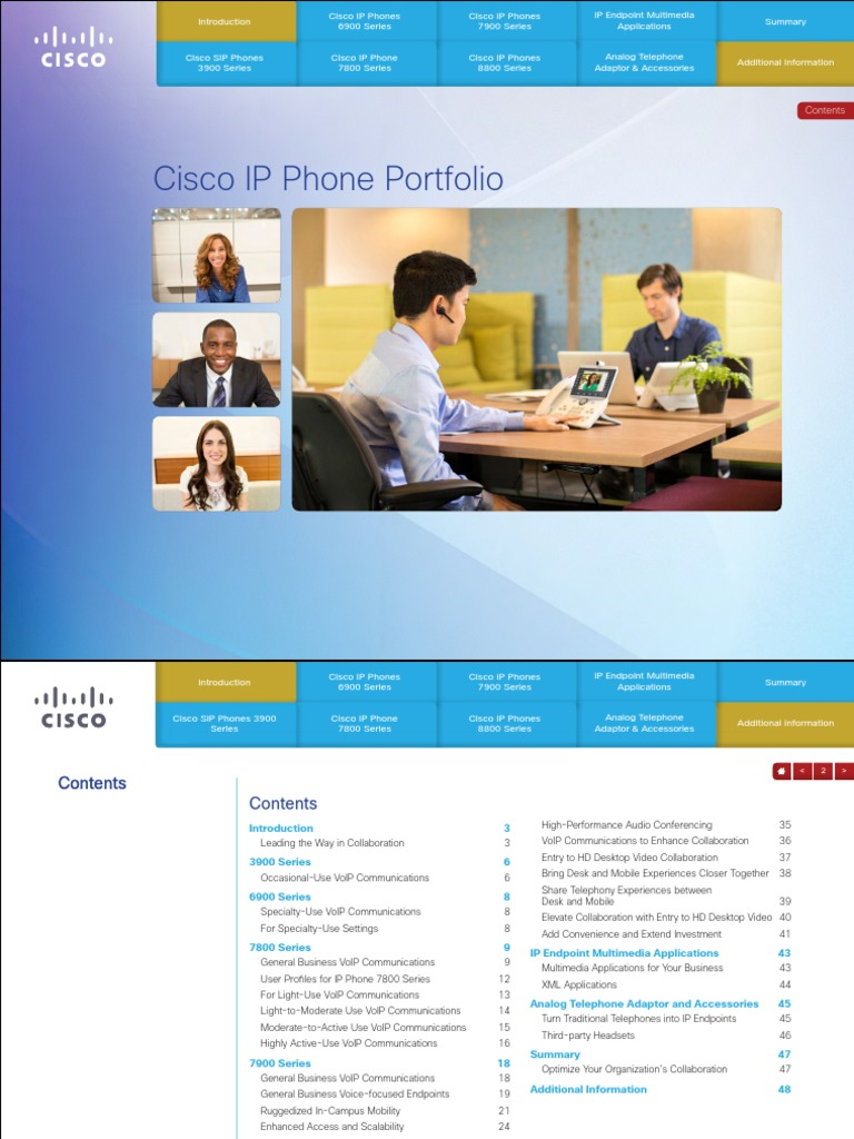 Cisco IP Phone Portfolio | Voice Over Ip | Telephone