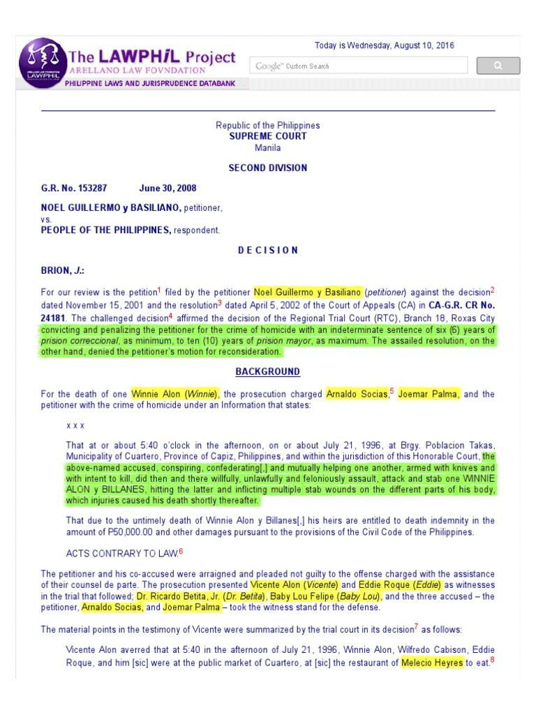 153287 | Burden Of Proof (Law) | Self Defense
