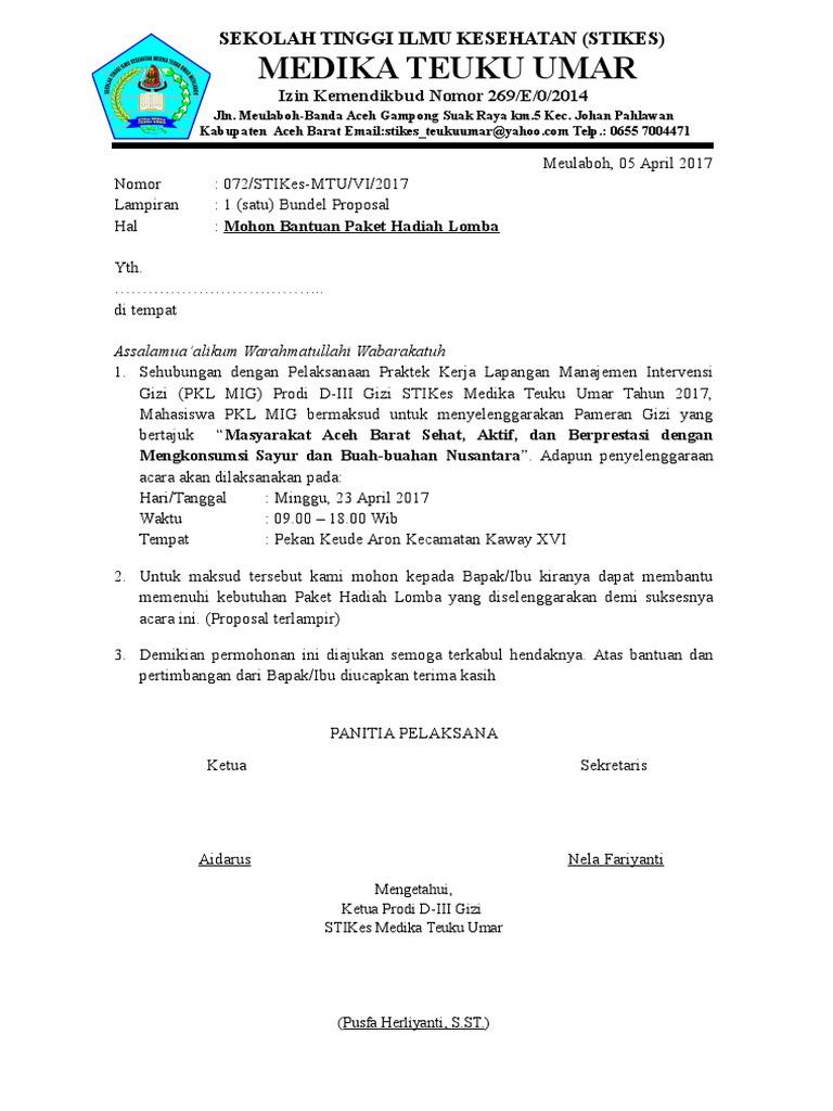 Surat Permohonan Bantuan Hadiah Lomba Doc