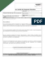 Formato Solicitud Cambio Programa Educativo 2016-2