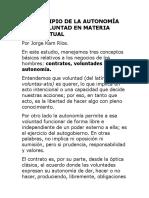 EL PRINCIPIO DE LA AUTONOMÍA DE LA VOLUNTAD EN MATERIA CONTRACTUAL