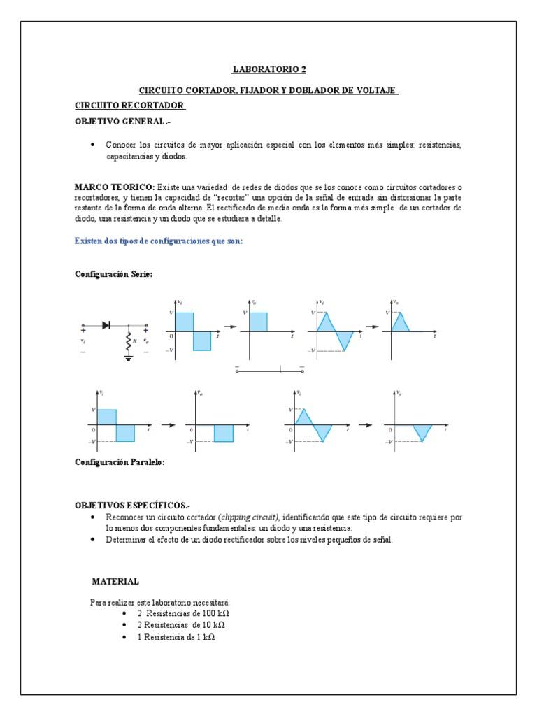Circuito Recortador : Informe circuito recortador fijador doblador de voltaje