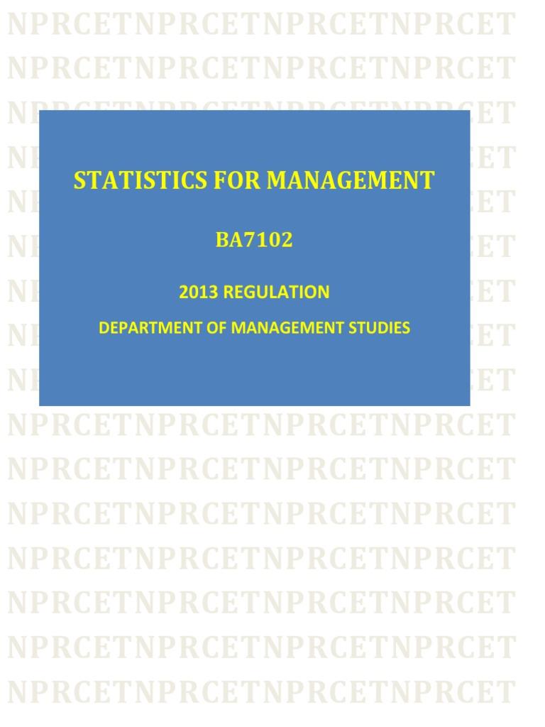 BA:Statistics for Management | Normal Distribution | Mean