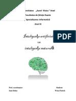 Inteligenta Artificiala vs.inteligenta Naturala
