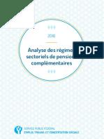 Analyse des régimes sectoriels de pensions complémentaires 2016  - Service Public Fédéral Emploi, Travail et Concertation sociale