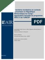 UNICEF RDC publie les résultats de la recherche conjointe UNICEF – American Institutes for Research sur le transferts monétaires en contexte humanitaire a l'est de la RDC
