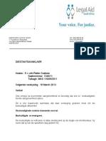 Brief Aan Staatsaanklaer Vertoe Vrdendal Versoek Pleit Onderhandelinge