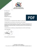 La lettre que Shakeel Mohamed a envoyée à la Speaker.