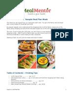 Meal Mentor Sample Meal Plan