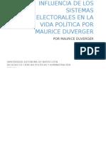 Resumen INFLUENCIA DE LOS SISTEMAS ELECTORALES EN LA VIDA POLÍTICA por Maurice Duverger