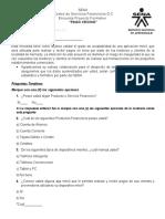 Ejemplo de Encuesta Estudio de mercado Aprendiz SENA