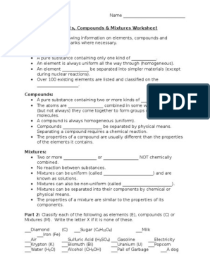 element-compound-mixture-handout- | Chemical Compounds ...