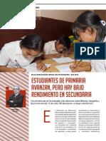 Revista La Cámara -  Estudiantes de primaria avanzan, pero hay bajo rendimiento en secundaria