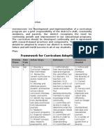 framework for curriculum adoption plan