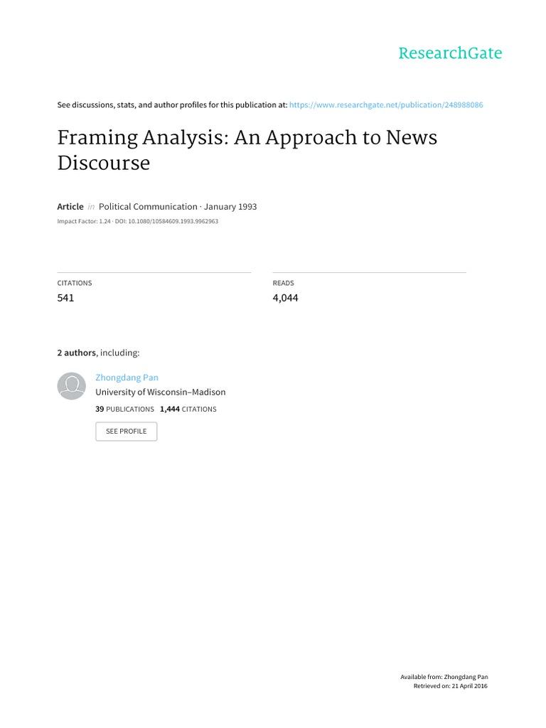 PAN; KOSICKI. Framing Analysis - An Approach to News Discourse ...
