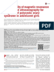 Clinical Utility of Magnetic Resonance Imaging and Ultrasonography for Diagnosis of Polycystic Ovary Syndrome in Adolescent Girls 2015 Fertility and S