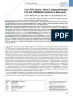 Using the Androgen Excess PCOS Society Criteria to Diagnose Polycystic Ovary Syndrome and the Risk of Metabolic Syndrome in Adolescents 2013 the Journ