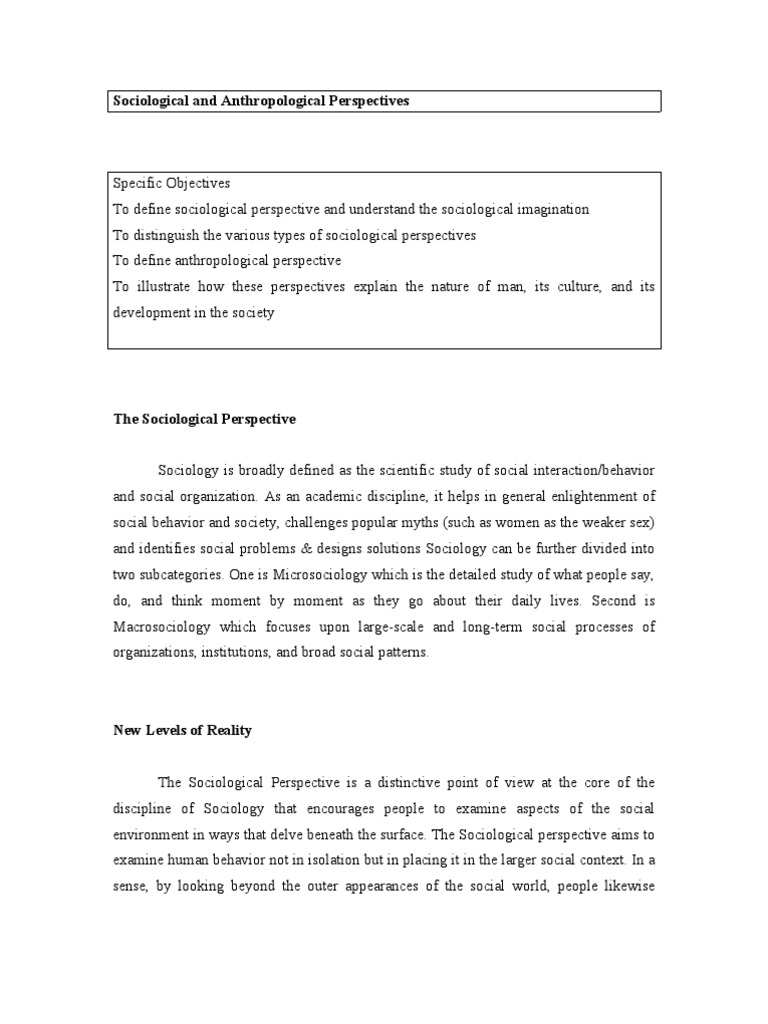 Sociological And Anthropological Perspective Sociology Anthropology
